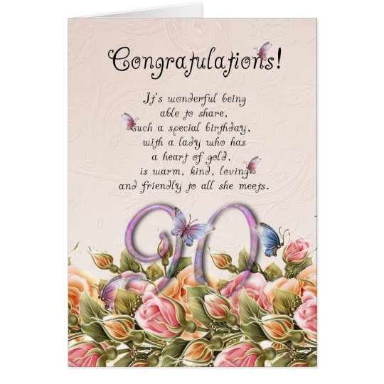90th birthday card with butterflies and roses -