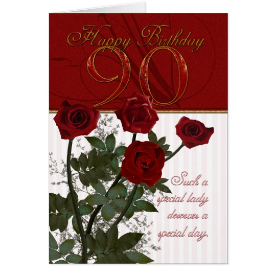 90th Birthday Card With Roses