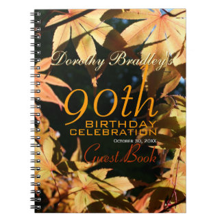 90th Birthday Celebration Autumn Custom Guest Book