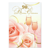 90th Birthday Celebration Custom Invitations
