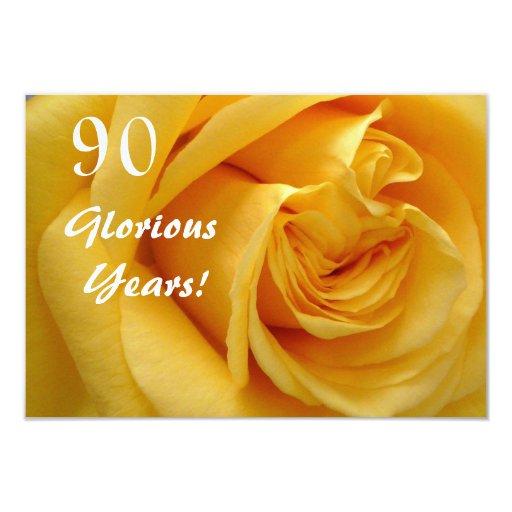 90th Birthday Celebration/DeepYellow Rose 9 Cm X 13 Cm Invitation Card