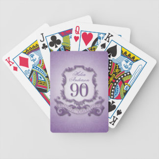 90th Birthday Celebration Personalized Bicycle Playing Cards