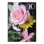 90th Birthday Celebration!-Pink Rose Bouquet 13 Cm X 18 Cm Invitation Card