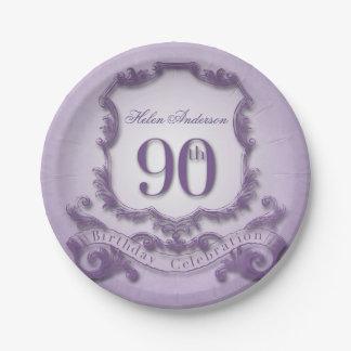 90th Birthday Celebration Vintage Frame 7 Inch Paper Plate