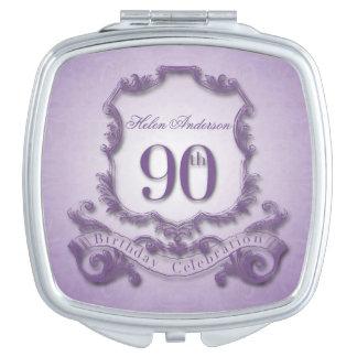 90th Birthday Celebration Vintage Frame Custom Mirror For Makeup