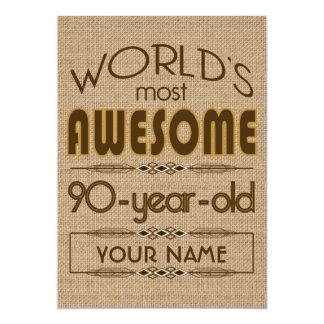 90th Birthday Celebration World Best Fabulous 13 Cm X 18 Cm Invitation Card
