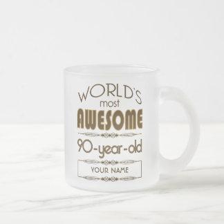 90th Birthday Celebration World Best Fabulous Frosted Glass Mug
