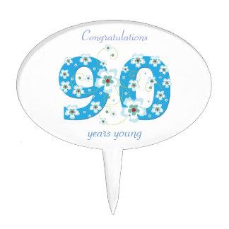 90th birthday congratulations blue flowers custom cake picks
