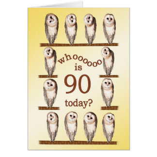 90th birthday, Curious owls card. Greeting Card