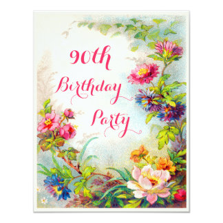 90th Birthday Dahlias and Peonies Victorian Garden 11 Cm X 14 Cm Invitation Card
