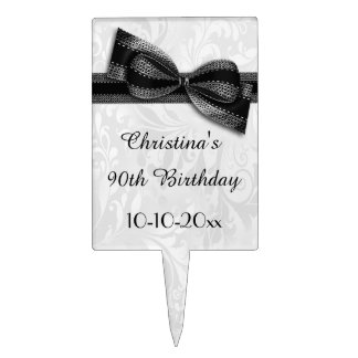 90th Birthday Damask and Faux Bow Cake Picks