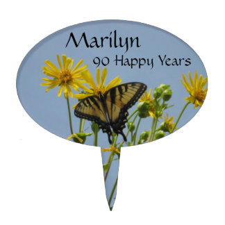 90th Birthday Eastern Tiger Swallowtail Cake Toppers