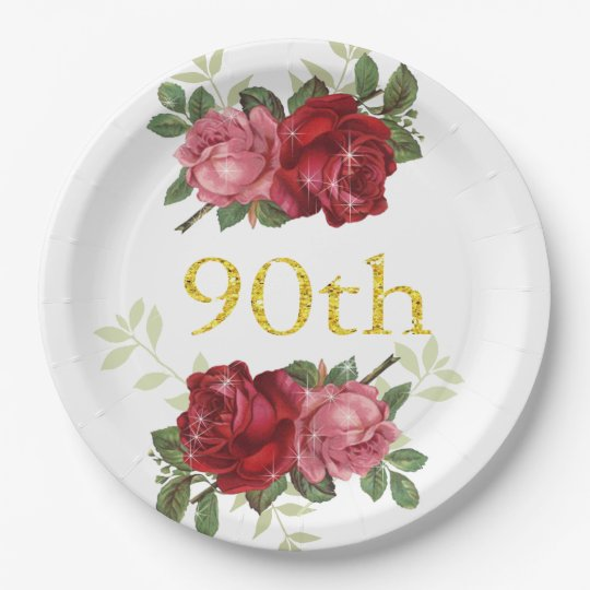 90th Birthday, Elegant, Red Vintage Roses, Custom Paper