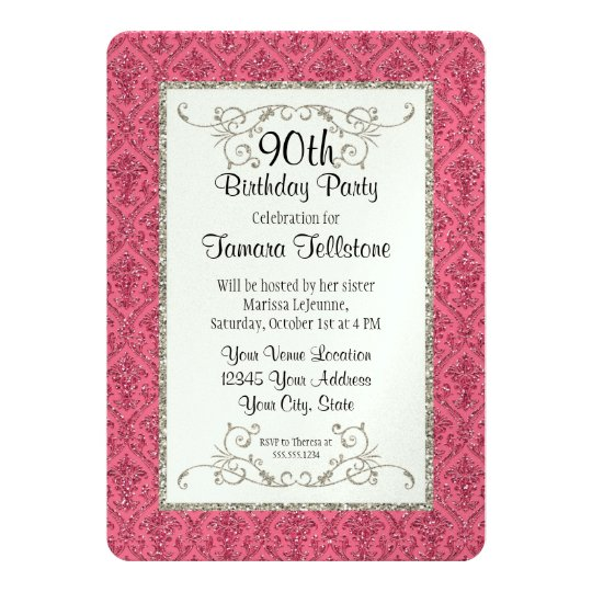 90th Birthday Faux Gold Glitter Damask Pattern Card