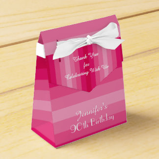 90th Birthday Favor Box, Pink Stripes Favour Box