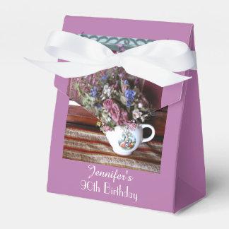 90th Birthday Favor Box, Vintage Teapot Wedding Favour Box