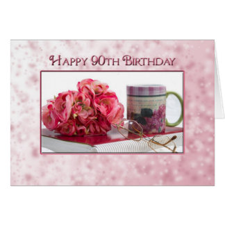 90th Birthday - Female - Dainty Pink Greeting Cards