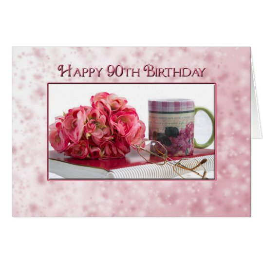 90th Birthday - Female - Dainty Pink Card