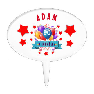 90th Birthday Festive Colorful Balloons C01IZ Cake Toppers