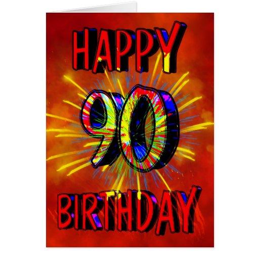 90th Birthday Fireworks Cards