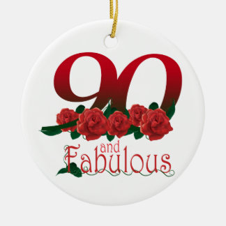 90th birthday flower christmas ornament