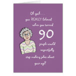 90th Birthday For Her-Funny Card