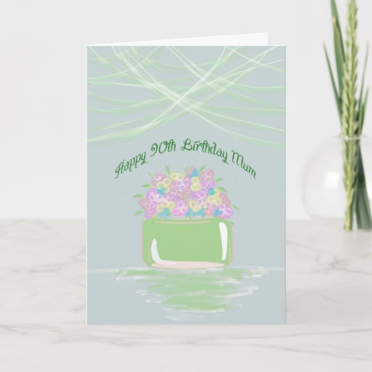 90th Birthday For Mum Basket Of Flowers In Pastel Card Zazzle