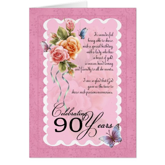 90th birthday greeting card - roses and butterflie