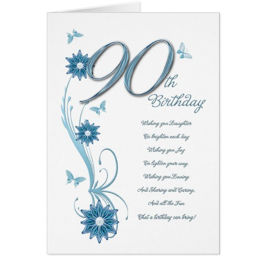 90th birthday in teal with flowers and butterfly
