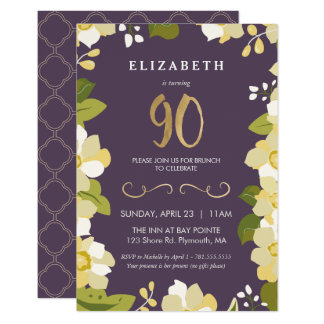 90th Birthday Invitation, Customize Floral w/ Gold Card