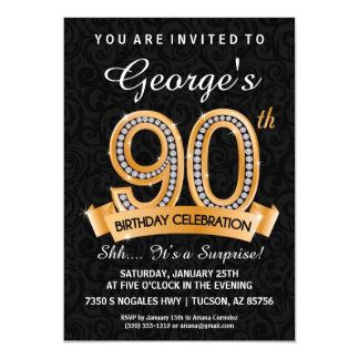 90th Birthday Invitation Diamond Milestone Invite