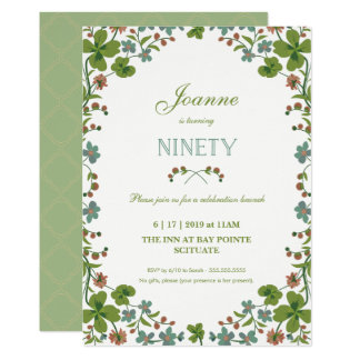 90th Birthday Invitation, Ninetieth Vintage Style Card