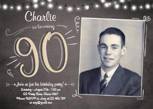 90th birthday invitations announcements zazzle 90th birthday invitation vintage ninety birthday filmwisefo