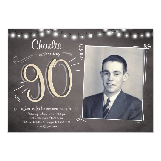 90th Birthday Invitation Vintage Ninety