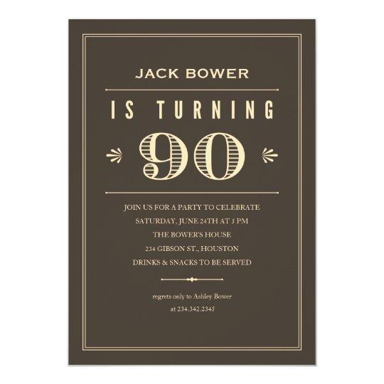 90th Birthday Invitations for Men