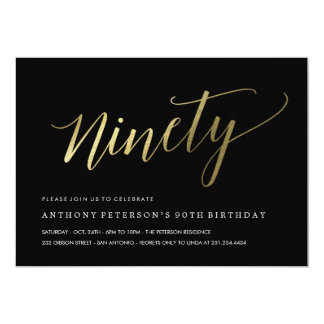 90th Birthday Invitations -  Formal Faux Gold