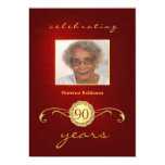 90th Birthday Invitations - Royal Red Monogram