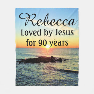 90TH BIRTHDAY LOVED BY JESUS PERSONALIZED BLANKET