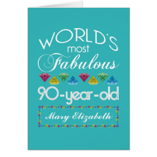 90th Birthday Most Fabulous Colorful Gem Turquoise Greeting Card