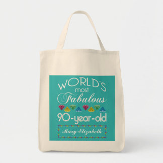 90th Birthday Most Fabulous Colorful Gem Turquoise Grocery Tote Bag