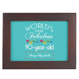 90th Birthday Most Fabulous Colorful Gem Turquoise Keepsake Box