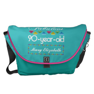 90th Birthday Most Fabulous Colorful Gem Turquoise Courier Bags