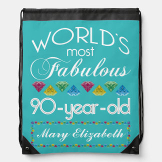90th Birthday Most Fabulous Colorful Gem Turquoise Backpacks