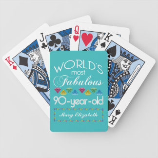 90th Birthday Most Fabulous Colorful Gem Turquoise Poker Deck