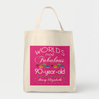 90th Birthday Most Fabulous Colorful Gems Pink Tote Bags