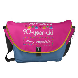 90th Birthday Most Fabulous Colorful Gems Pink Messenger Bag