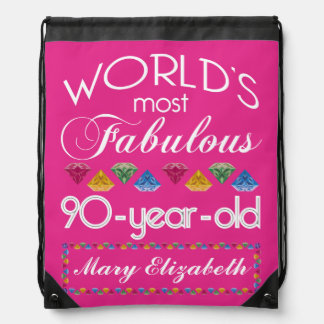 90th Birthday Most Fabulous Colorful Gems Pink Backpacks