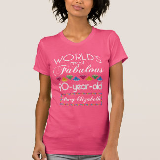 90th Birthday Most Fabulous Colorful Gems Pink T-Shirt