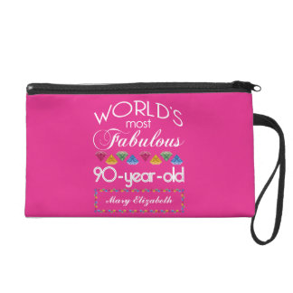 90th Birthday Most Fabulous Colorful Gems Pink Wristlet Purse