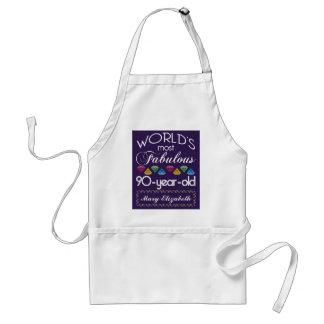 90th Birthday Most Fabulous Colorful Gems Purple Apron